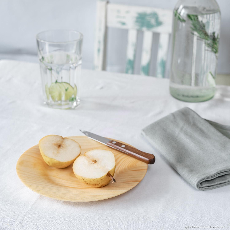 Плоская деревянная тарелка из кедра (детский набор) 190мм. T149, Наборы посуды, Новокузнецк,  Фото №1