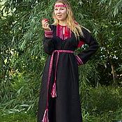 """Русский стиль ручной работы. Ярмарка Мастеров - ручная работа Платье """"Берегиня"""" черно-красное. Handmade."""