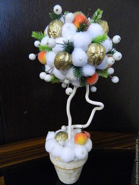 """Топиарии ручной работы. Ярмарка Мастеров - ручная работа. Купить Топиарий """"Яблоки на снегу"""". Handmade. Комбинированный, грецкий орех, зимний"""