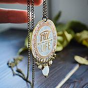 Украшения handmade. Livemaster - original item Boho pendant Oriental style rhinestone Oval pendant words. Handmade.