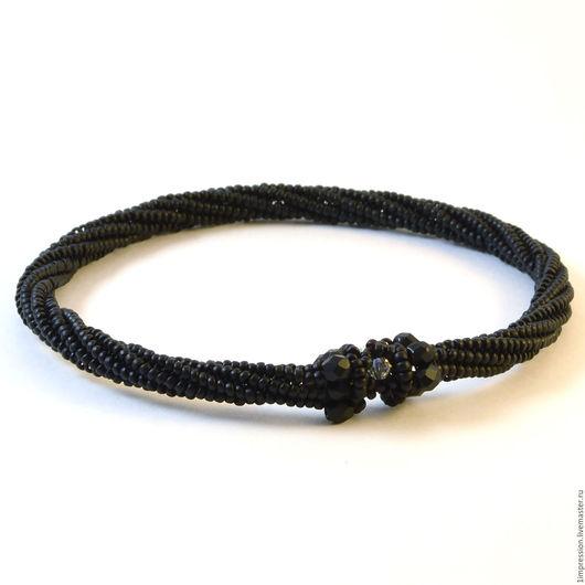Браслеты ручной работы. Ярмарка Мастеров - ручная работа. Купить Черный браслет из бисера «Ночь в Лиссабоне». Handmade. Черный браслет