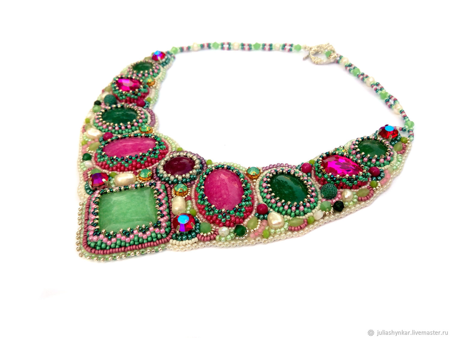 Necklaces & Beads handmade. Livemaster - handmade. Buy Necklace 'Forest berry'.Necklace, bead embroidery, natural agates