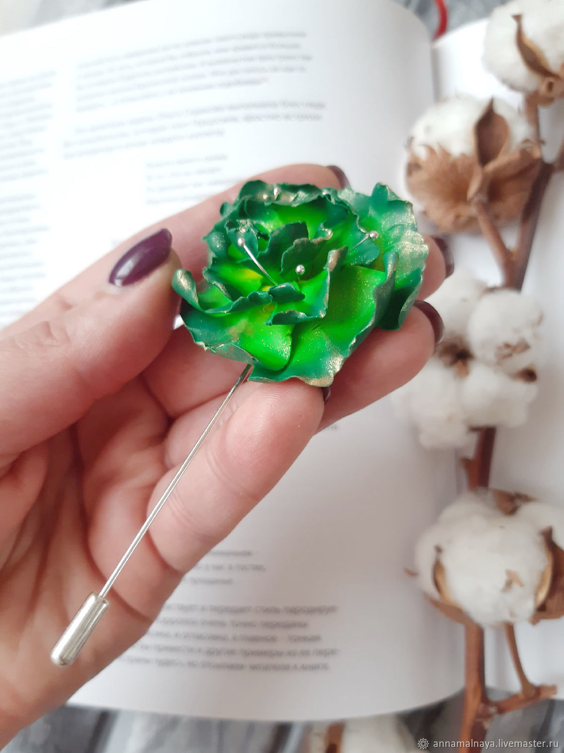 Brooch needle Green flower made of polymer clay, Brooches, Domodedovo,  Фото №1
