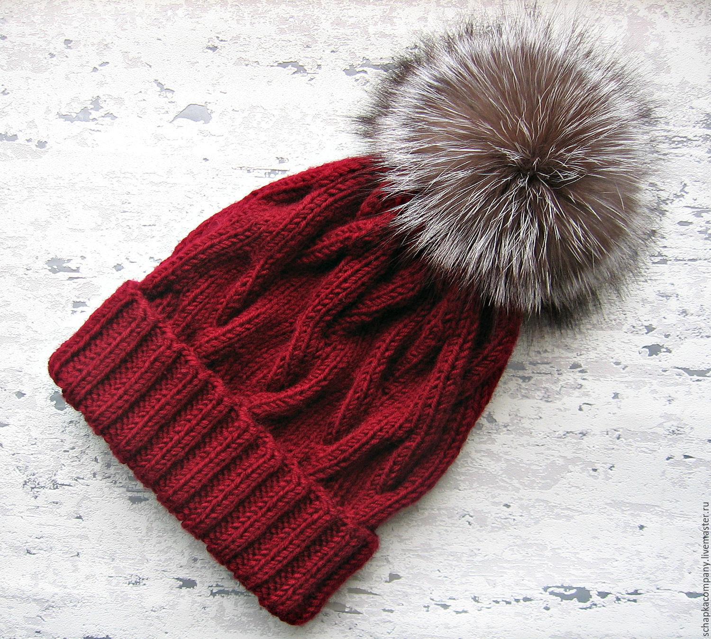 Вяжем шапку с помпоном спицы 138