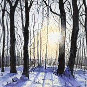 Картины и панно ручной работы. Ярмарка Мастеров - ручная работа Зимнее солнце (в багете). Handmade.
