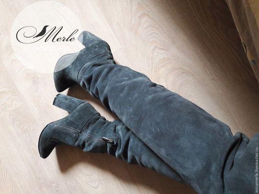 Обувь ручной работы. Ярмарка Мастеров - ручная работа. Купить Ботфорты Замшевые серые  ботфорты, 10cm. Handmade. Коричневый