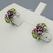 Украшения handmade. Livemaster - original item Silver earrings with garnet with rhodolite and peridot. Handmade.