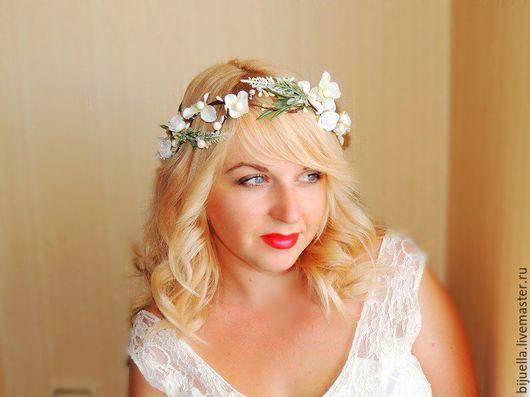 Диадемы, обручи ручной работы. Ярмарка Мастеров - ручная работа. Купить Свадебный веночек для волос Белая лаванда. Handmade.