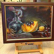 Картины и панно ручной работы. Ярмарка Мастеров - ручная работа Натюрморт с голубым графином. Handmade.