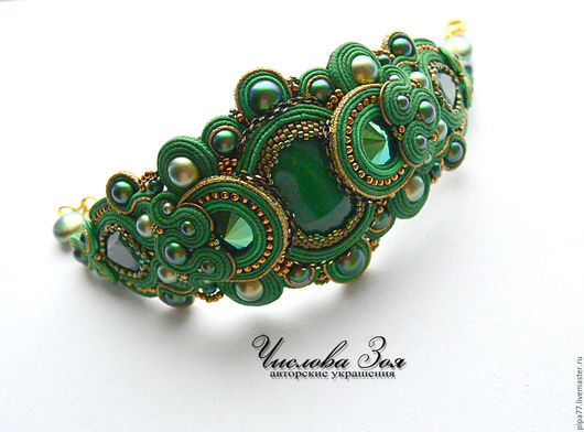 """Браслеты ручной работы. Ярмарка Мастеров - ручная работа. Купить сутажный браслет """"Mysterious green"""" (Загадочный зеленый""""). Handmade. Зеленый"""