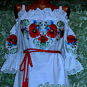 Одежда handmade. Livemaster - original item Dress-embroidery
