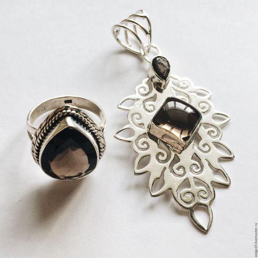 Комплекты украшений ручной работы. Ярмарка Мастеров - ручная работа. Купить Комплект из стерлингю серебра 925 с раухтопазом кольцо и кулон. Handmade.