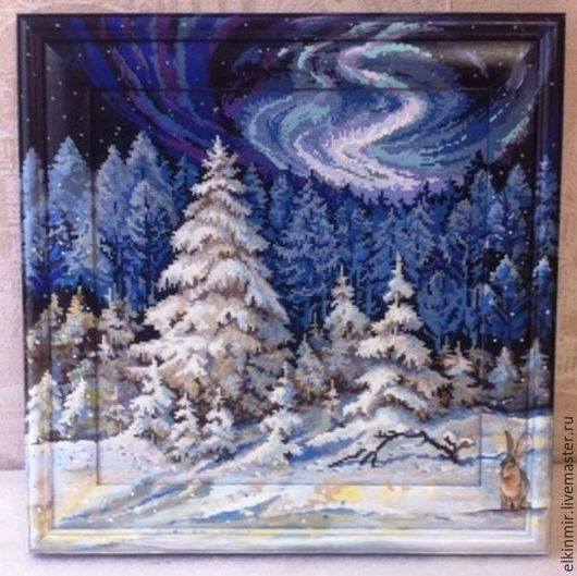 Новый год 2017 ручной работы. Ярмарка Мастеров - ручная работа. Купить Картина вышитая крестиком. Handmade. Синий, северное сияние