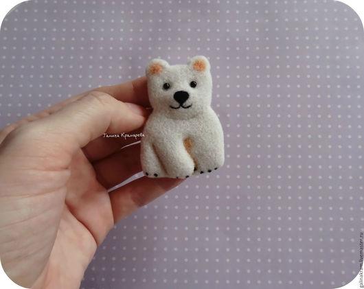 Броши ручной работы. Ярмарка Мастеров - ручная работа. Купить белый мишка. Handmade. Мишка, белый медведь, умка