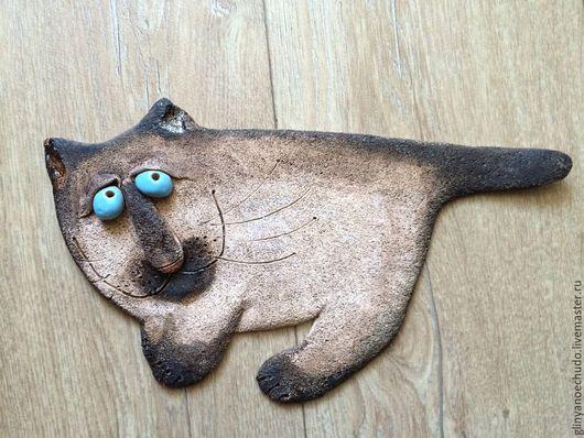 Животные ручной работы. Ярмарка Мастеров - ручная работа. Купить Кот на стене. Handmade. Котик, керамика ручной работы