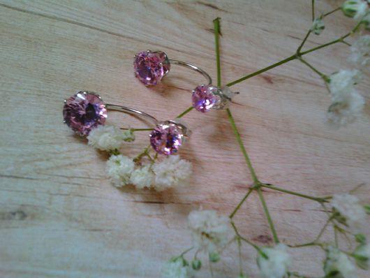 Серьги жакеты,пуссеты.Гвоздики трансформер.Ультрамодные серьги.Модные серёжки розового цвета.