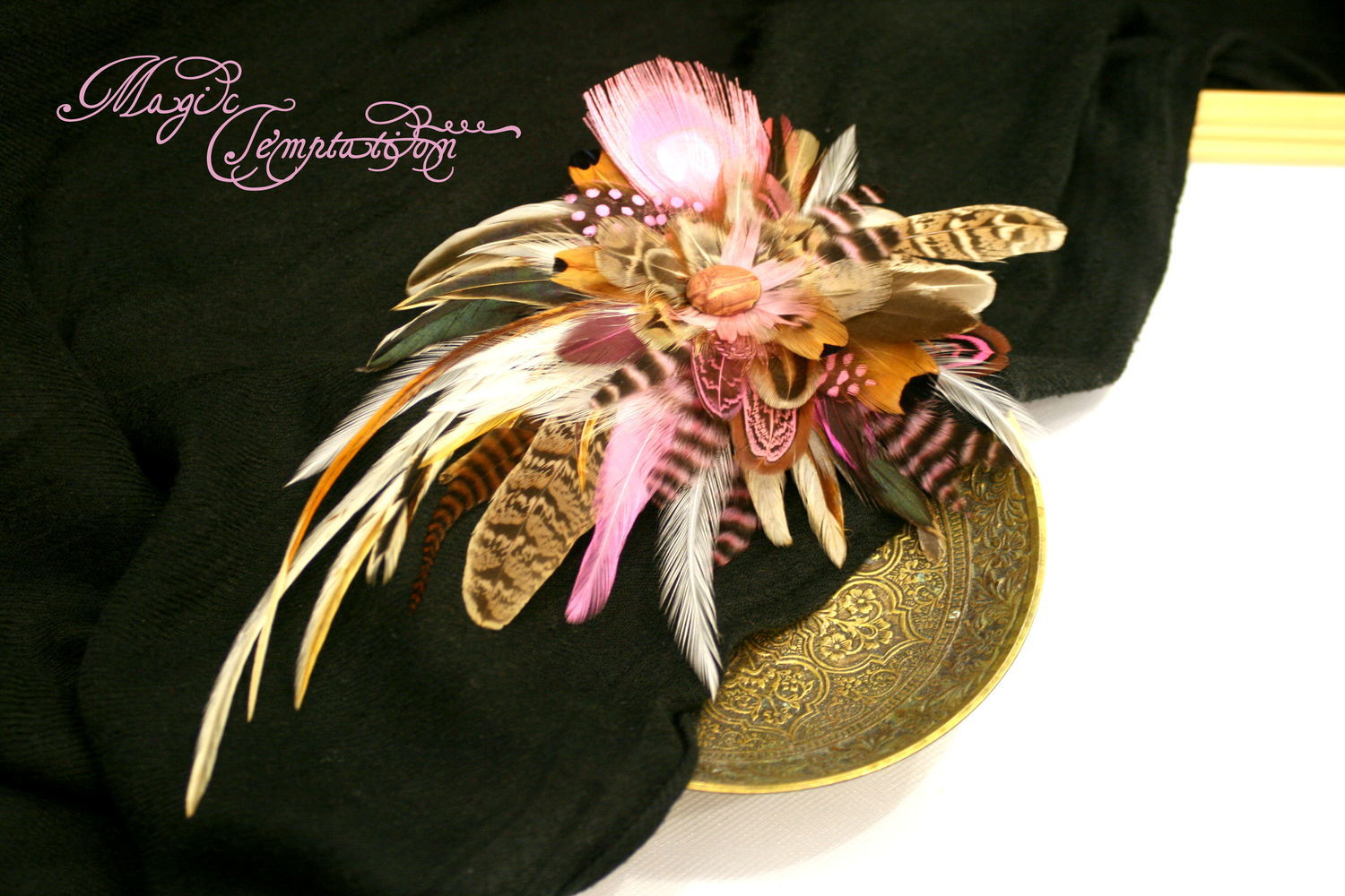 Pink boho hair clip brooch with feathers, Hairpins, Moscow,  Фото №1
