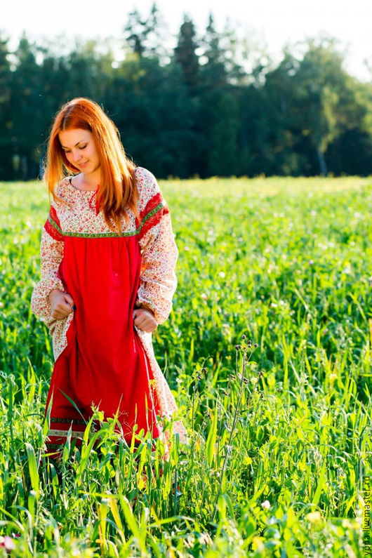 """Одежда ручной работы. Ярмарка Мастеров - ручная работа. Купить Платье хлопок """"Забава"""". Handmade. Хлопок, русская одежда, народный"""