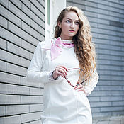 Одежда ручной работы. Ярмарка Мастеров - ручная работа Новинка для осени - Платье с бантом и кружевом - белый с розовым. Handmade.