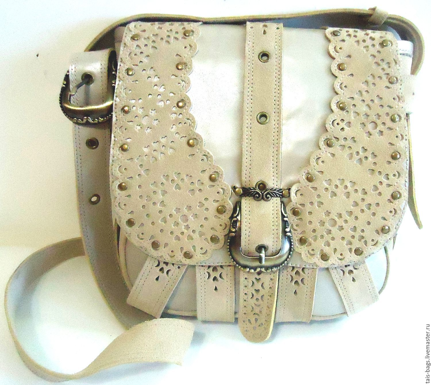 Women's leather with suede bag PANDORA beige, Classic Bag, Izhevsk,  Фото №1
