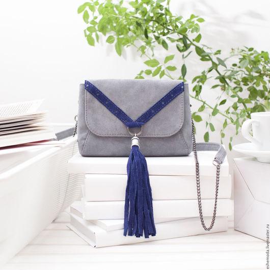 Женские сумки ручной работы. Ярмарка Мастеров - ручная работа. Купить Сумка поясная с кисточкой grey - blue. Handmade. Серый