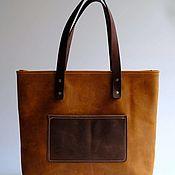 Сумка-тоут ручной работы. Ярмарка Мастеров - ручная работа Кожаная сумка шоппер TOTE (коричневый). Handmade.