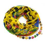 Аксессуары handmade. Livemaster - original item Chiffon shawl with beads (yellow peas). Handmade.
