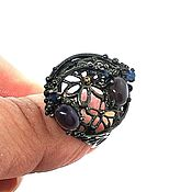 Украшения handmade. Livemaster - original item Silver ring with black opals, p. 17. Handmade.
