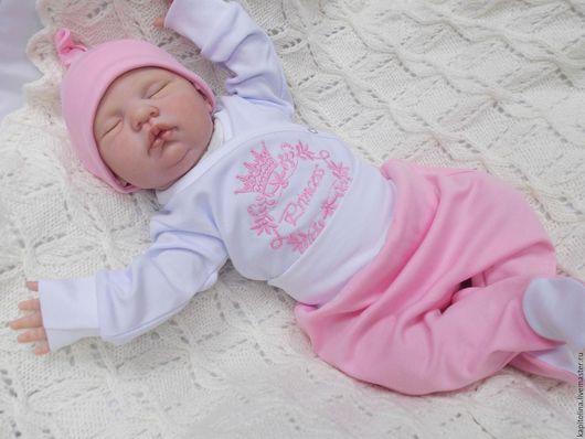 """Одежда ручной работы. Ярмарка Мастеров - ручная работа. Купить Комплект  для малышки """"Принцесса"""". Handmade. Розовый, рисунок, для новорожденных"""