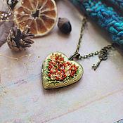 """Подвеска ручной работы. Ярмарка Мастеров - ручная работа Медальон """"Цветочное сердце"""".. Handmade."""