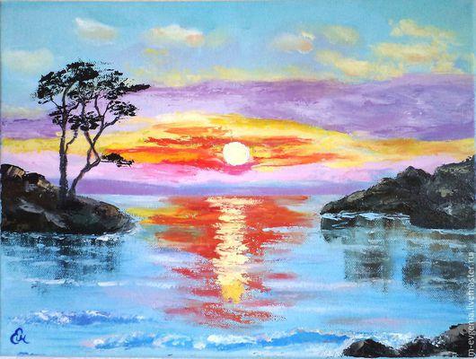 Картина маслом `Розовый закат`. Картина ручной работы. Картина с морем. Техника мастихин. Картина море.