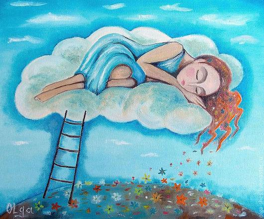 """Фантазийные сюжеты ручной работы. Ярмарка Мастеров - ручная работа. Купить """"Цветные сны"""" картина маслом. Handmade. Бирюзовый, облака"""