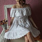 Одежда handmade. Livemaster - original item Boho dress with lace summer white. Lace. batiste. Boho. Lace.. Handmade.