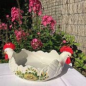 """Винтаж ручной работы. Ярмарка Мастеров - ручная работа Блюдо для салата """"Петухи"""", ручная работа, Италия. Handmade."""