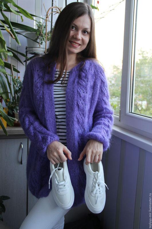 Кофты и свитера ручной работы. Ярмарка Мастеров - ручная работа. Купить Мохеровый кардиган (фиолет). Handmade. Фиолетовый, кофта вязаная