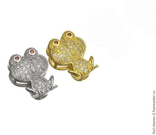 Бусина Лягушка, серебро и золото (Milano) Евгения (Lizzi-stones-2)