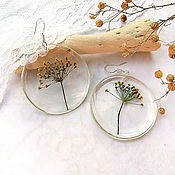 Украшения handmade. Livemaster - original item Transparent Earrings with an Annual Plant of the Family Umbelliferae. Handmade.