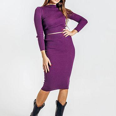 Одежда ручной работы. Ярмарка Мастеров - ручная работа Костюм кроп топ фиолетовый обтягивающий. Водолазка, юбка карандаш. Handmade.