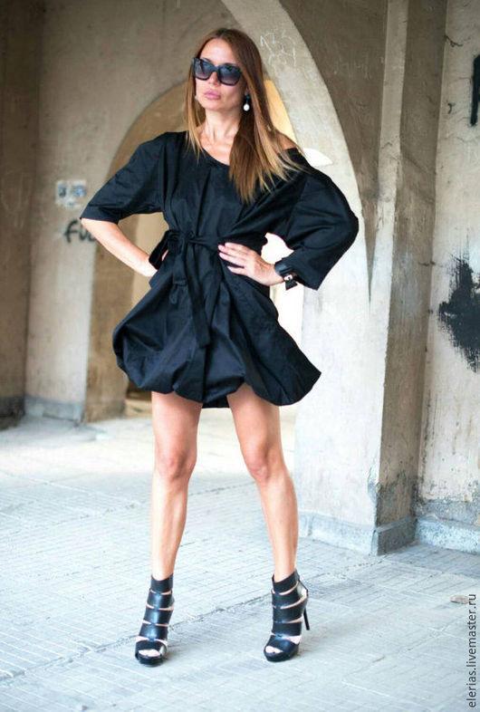 Черное платье. Короткое платье. Платья ручной работой. Купить черное платье. Платье из хлопка. Ярмарка Мастеров.