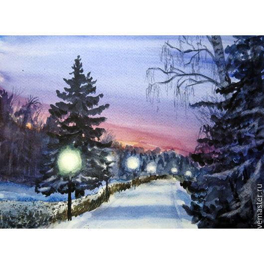 Пейзаж ручной работы. Ярмарка Мастеров - ручная работа. Купить зимний вечер. Handmade. Комбинированный, зима, парк, акварель