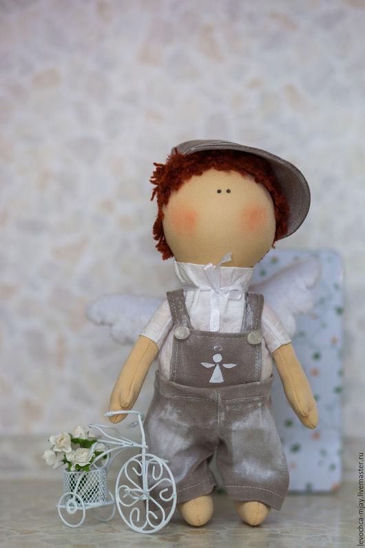 Куклы тыквоголовки ручной работы. Ярмарка Мастеров - ручная работа. Купить Текстильный мальчик - ангелочек. Handmade. Комбинированный, ангел, тыквоголовка