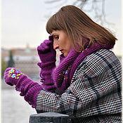 """Аксессуары ручной работы. Ярмарка Мастеров - ручная работа Вязаный комплект с вышивкой  ( перчатки+ снуд)  """"Молчаливая осень"""". Handmade."""