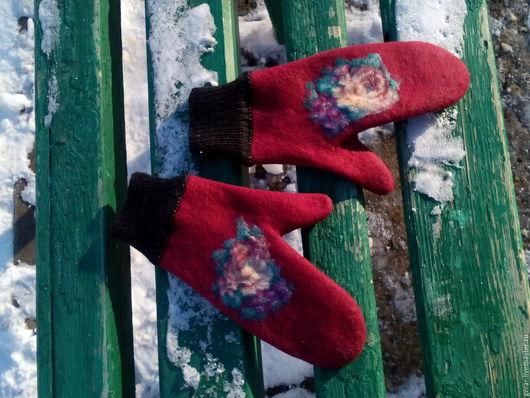 Обувь ручной работы. Ярмарка Мастеров - ручная работа. Купить Варежки Садик. Handmade. Шерсть 100%, мериносовая шерсть
