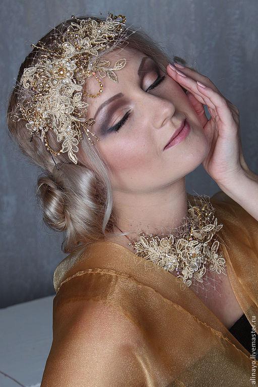 Свадебные украшения ручной работы. Ярмарка Мастеров - ручная работа. Купить свадебная повязка  в винтажном стиле Леди Винтаж. Handmade.