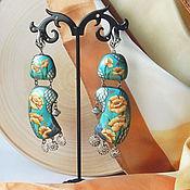 Серьги классические ручной работы. Ярмарка Мастеров - ручная работа Серьги с росписью Однажды тёплым днём. Handmade.