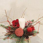 Композиции ручной работы. Ярмарка Мастеров - ручная работа Композиции: Алая орхидея со свечёй. Handmade.