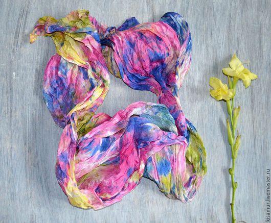 шарф женский шарфик шелковый шарф шелк натуральный батик шарф подарок подруге подарок девушке роспись по шелку свободная роспись авторская работа