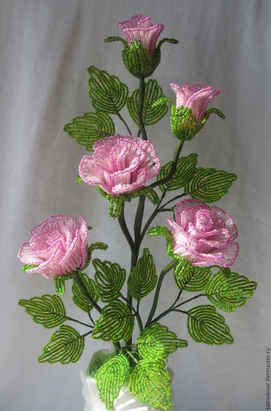 Цветы ручной работы. Ярмарка Мастеров - ручная работа. Купить Розы в вазочке. Handmade. Роза, букет из бисера, розы, розовый