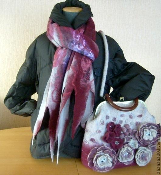 Женские сумки ручной работы. Ярмарка Мастеров - ручная работа. Купить Валяная  сумка и шарф. Handmade. Бордовый, сумка женская