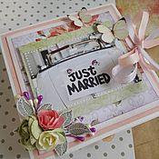 Свадебный салон ручной работы. Ярмарка Мастеров - ручная работа Коробочка для денег just married. Handmade.